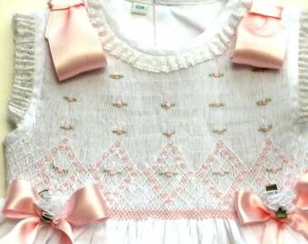"Victorian Girls Dress, Heirloom Girls Dress, ""English Rose"",100% Fine Cotton Heirloom Hand Smocked, Heirloom Girls Dress, Girl Smocked Dress"