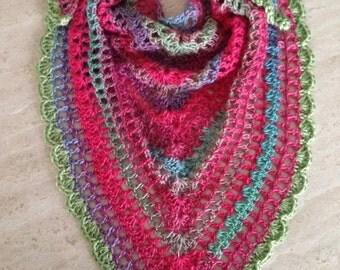 Handmade Multicolored Crochet SUMMER SCARF SHAWL - Ready to Ship - Crochet Shawl, Crochet Summer Scarf, Lightweight Shawl, Lightweight Scarf