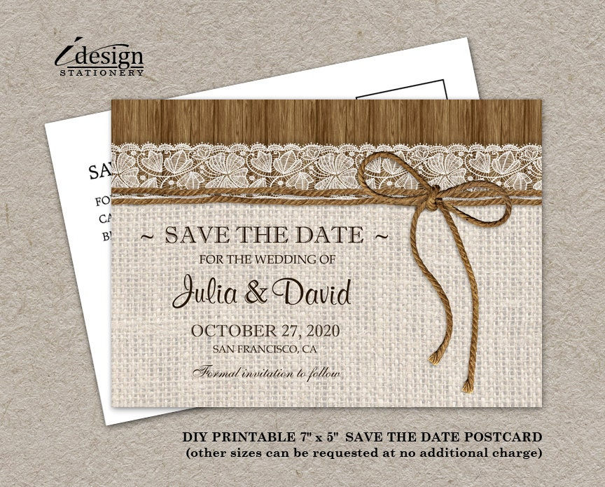 diy printable rustic wedding save the date cards with burlap