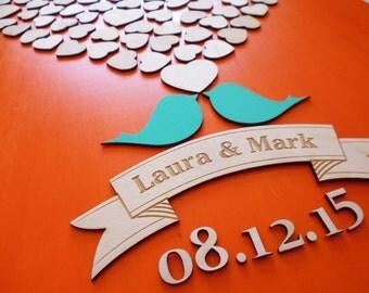 Custom Wedding Guest Book Alternative Wood Guestbooks Unique Wedding Guest Book Sign w Custom Engraved Text w 135 Hearts Keepsake Unframed