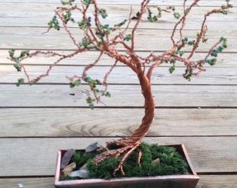 Copper wire wrap Tree - Green Leaves - Copper planter