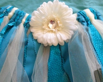 Fabric Rag Skirt Tutu  Blue and Ivory  Size 7 - 8 Ready to ship