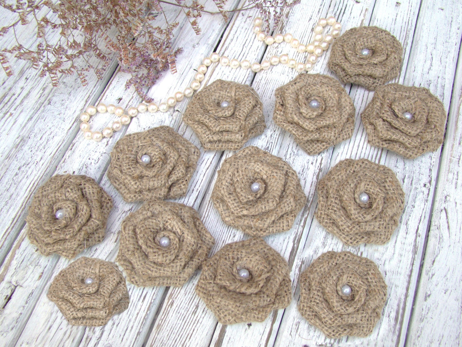 Burlap Flowers Roses Set of 12 handmade fabric by Tatianaday