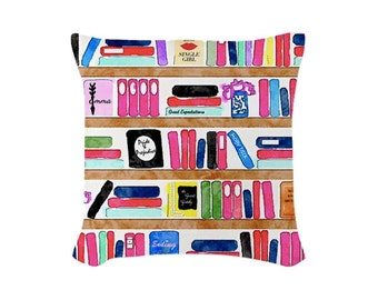 "Read Colorfully -- Throw Pillow (with insert) -- 16"" X 16"""