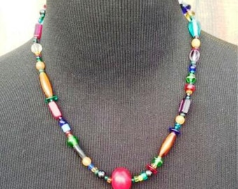 Hand Crafted Beaded Multi-color Necklace