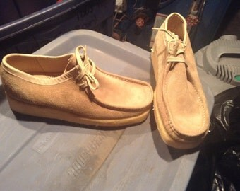 Floresheim wallabee boot vintage deadstock new old 1970's men's shoes suede size 9e made USA