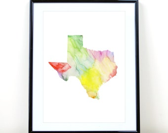 Texas State Wall Art, Watercolor Print INSTANT DOWNLOAD
