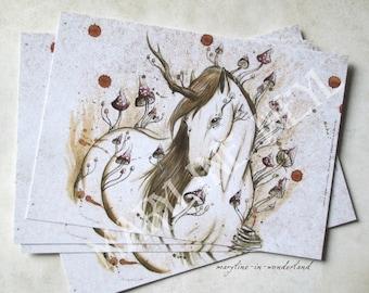 x 1 postcard horse Unicorn of the Woods