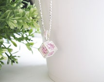 Stunning Swarovski Crystal Pendant Choker, Sterling Silver Necklace, Cubic box Pendant with Crystal Sparkling From Every Side