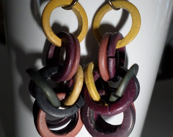 Vintage 1980's Chainmaille Wooden Dangle Earrings-Wooden Dangles-80s Earrings-Retro-Vintage-Wood Dangles