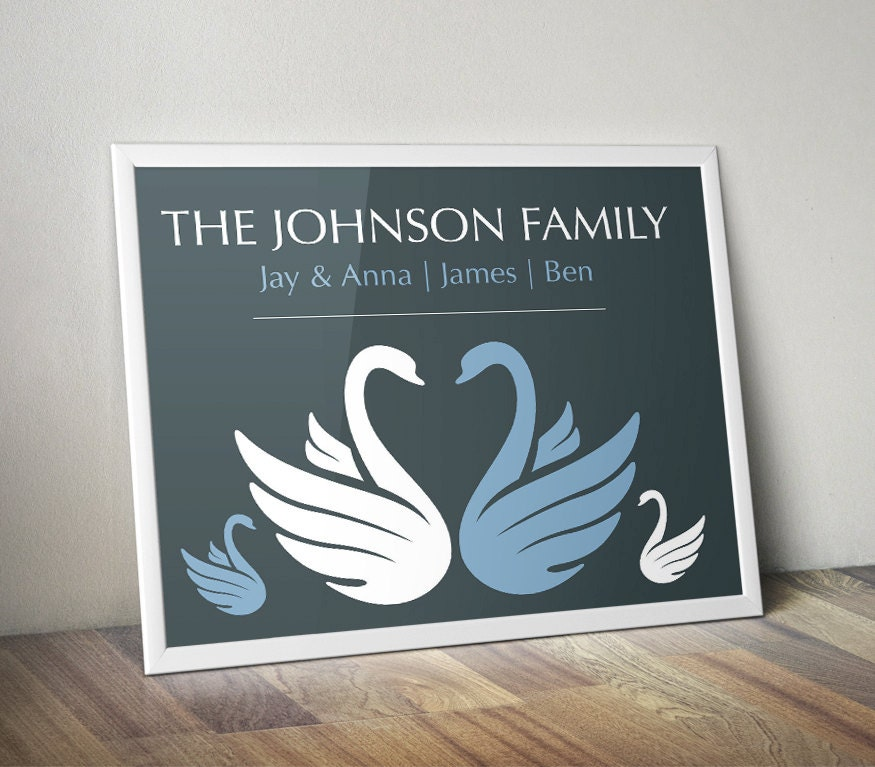 personalized swans family name sign wall decor family by On family sign wall decor