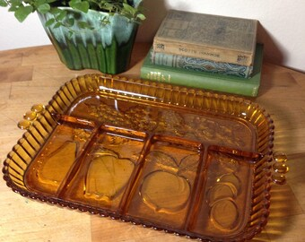 Amber Glass Divided Serving Tray