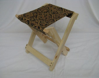 Civil War Style Folding Camp Stool with Fabric Seat