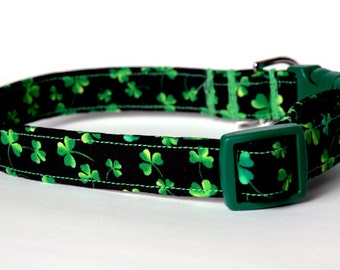 "Handmade Black St.Patrick's Day w/Green Clover Design Dog Collar ""New"""