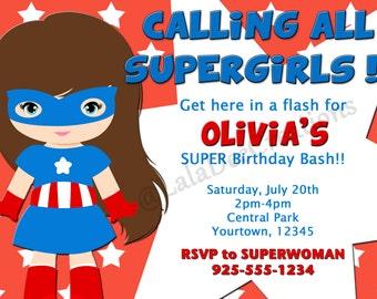 Supergirl Birthday Invitation / Supergirl / Printable Digital File
