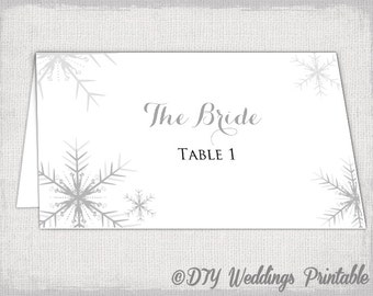 "Winter wedding place card template ""Snowflakes"" silver gray place cards DIY winter wedding printable name card Avery 5302 Word download"