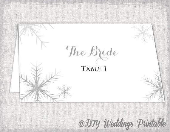 winter wedding place card template snowflakes