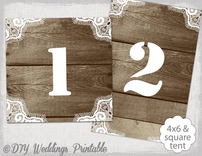Rustic table number template diy wood lace for 4x6 table tent template