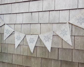 Winter Decor, Christmas Decor, Holiday Banner, Snowflake Burlap Banner, Snowflake Bunting Garland, Christmas Banner, Winter Burlap Banner