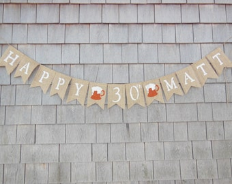 Custom Happy Birthday Banner, Happy Birthday Garland, Custom Birthday Bunting, Birthday Decor, Beer Mug Birthday Sign, Beer Mug 30th Banner