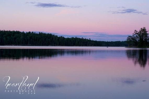 Large Print, Boundary Waters, Sunset Photography, Lake Photo, Water Print, Nature Landscape, BWCA Sunset, Large Wall Art, Pink and Purple