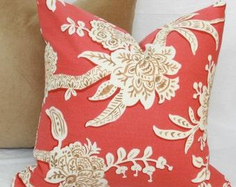 Coral & tan floral decorative throw pillow cover.18 x 18. 20 x 20. 22 x 22. 24 x 24. 26 x 26. lumbar sizes. Accent pillow.