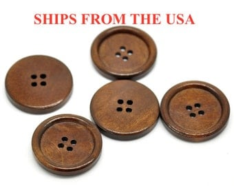 "100 Wood Buttons 1 1/8"", 30mm  Medium Brown Finish Buttons, Bulk Wooden Buttons, Brown Buttons Large Wooden Buttons Wholesale Buttons"