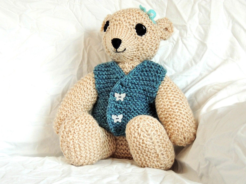 Knitting Patterns Teddy Bear Stuffed Animals : Teddy Bear with butterfly knit stuffed animal toy doll