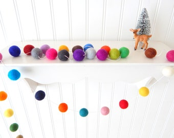 Christmas Garland, Christmas Felt Ball Garland, Pom Pom Garland, Christmas Decor, Christmas Tree Garland, Mantel Decor,Holiday Decor Bunting