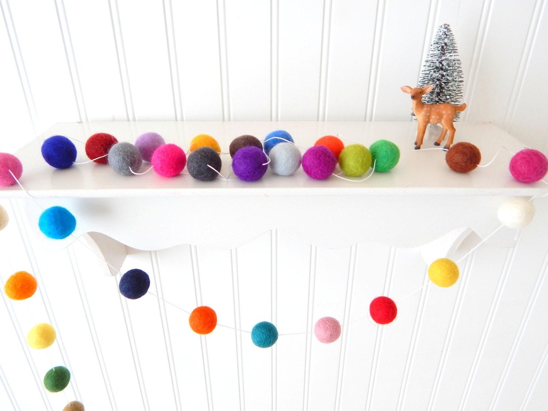 Christmas Garland Christmas Felt Ball Garland Pom Pom