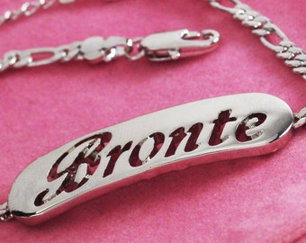 """Name Bracelet BRONTE - White Gold Plated 18K Personalised Bracelet. 10"""" Figaro Chain with Gift Box and Gift Bag."""