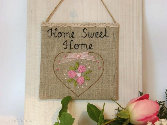 Linen Sign Home Sweet Home Inspirational Quote Rustic