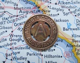Vintage Token; Augusta Coach Company, Exonumia, Fare Token, Georgia, Souvenir, Token, Transit, Transit Token