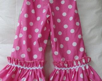 Girls ruffle pants, polka dot print, girls clothing, childrens clothing, Girls dress,   sizes 12mo, 2T, 3T, 4T, 5, 6, 7, 8, 9, 10