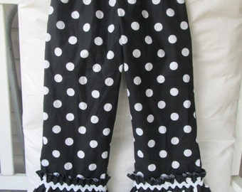 Girls ruffle pants, polka dot print, girls clothing, childrens clothing, girls fall clothing, sizes 12mo, 2T, 3T, 4T, 5, 6, 7, 8, 9, 10