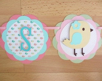 Pastel Bird Chick It's a Girl Baby Shower Birthday Party Banner Sign Pink Aqua Green Yellow