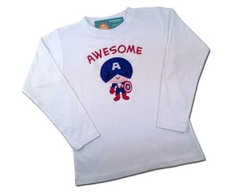 Boy's Superhero Shirt with American Shield and Embroidered Name
