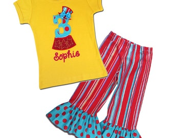 Girl's Birthday Outfit with Circus Birthday Shirt and Embroidered Name - F6, F43