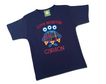 Boy's Valentine Shirt with Love Monster and Embroidered Name - M1