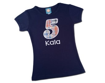 Girl's Birthday Number Shirt and Embroidered Name - M30