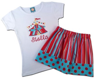 Girl's Circus Birthday Outfit with Circus Shirt and Embroidered Name - F6, F43