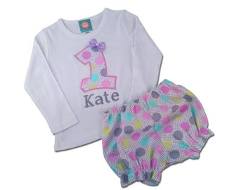 Girl Birthday Outfit with Birthday Number Shirt and Polka Dot Bloomers - F17