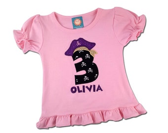 Girl's Pirate Birthday Shirt with Pirate Number and Name