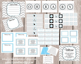 INSTANT DOWNLOAD Printable Basic Blue and Gray Chevron Baby Shower Party Package Digital You Print Party Package. Grey Chevron and Blue.