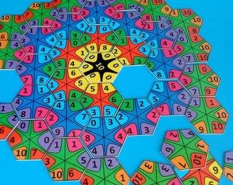 Math Mandala Game,  First Grade Math Activities, Numbers Mandala Puzzle, Home School Math Learning, First Grade Math Activities,