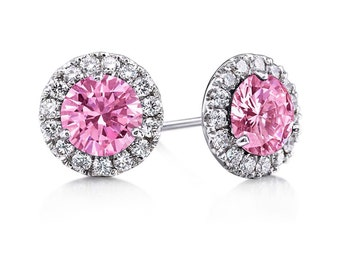 Sapphire Stud Earrings Round 2.80cttw 6.5mm Pink Sapphire and Genuine Diamonds 14kt White Gold Halo FSI1 Diamond Halo Earrings