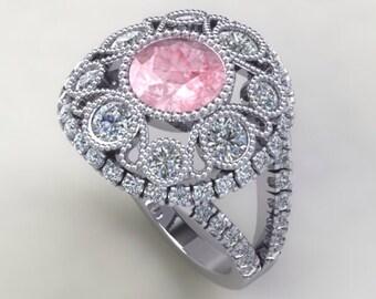 Art Deco Engagement Ring 14k Gold Round 6.5mm Bezel Set Round Genuine Morganite & Round Diamonds Filigree Art Deco Wedding Ring