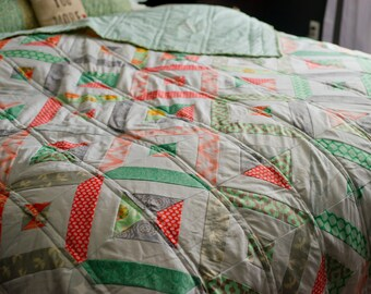 twin size quilt, modern quilt, quilt, modern patchwork quilt, wedding gift, coral quilt,  patchwork quilt, mint quilt, gray quilt