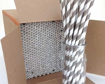 Paper Straws, 600 Grey Paper Straws, Wholesale Straws, Bulk Straws, Grey Drinking Straw, Event Straws Made in USA