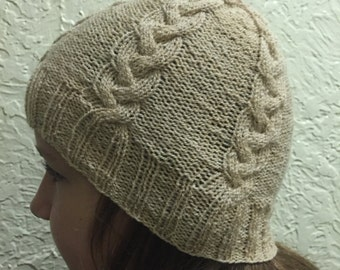 Beige Hat with Braided Design, Hand Knitted Hat